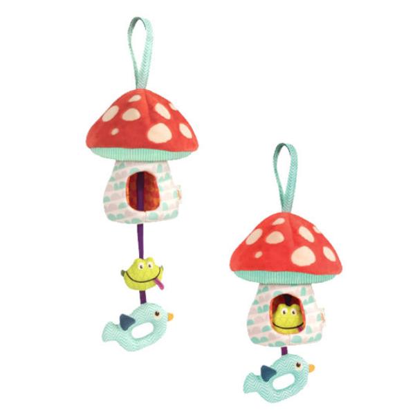 【美國 B.Toys 感統玩具】蘑菇說晚安(聲光安撫吊飾) BX1564Z